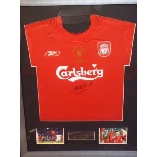 FRAMED SIGNED STEVEN GERRARD LIVERPOOL 2005 CHAMPIONS LEAGUE FINAL SHIRT