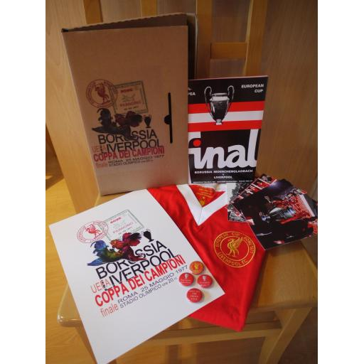 PRE-ORDER: LIMITED EDITION 40TH ANNIVERSARY 1977 EUROPEAN CUP FINAL LIVERPOOL FC SIGNED SHIRT BOX SET P&P: UK