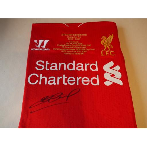 SIGNED STEVEN GERRARD LIMITED EDITION 2014/15 EMBROIDERED LIVERPOOL HOME SHIRT