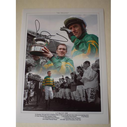 AP MCCOY SIGNED 'THE GREATEST' HORSE RACING 16X12 MONTAGE