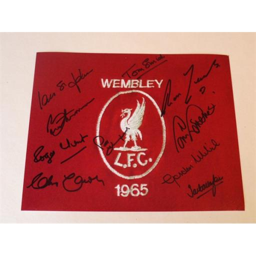 LIVERPOOL 1965 FA CUP WINNERS SIGNED RANGE - 1965 FA CUP FINAL BADGE 10X8 PHOTO