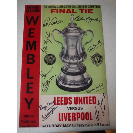 LIVERPOOL 1965 FA CUP WINNERS SIGNED RANGE - 1965 FA CUP FINAL PROGRAMME COVER 16X12 PHOTO