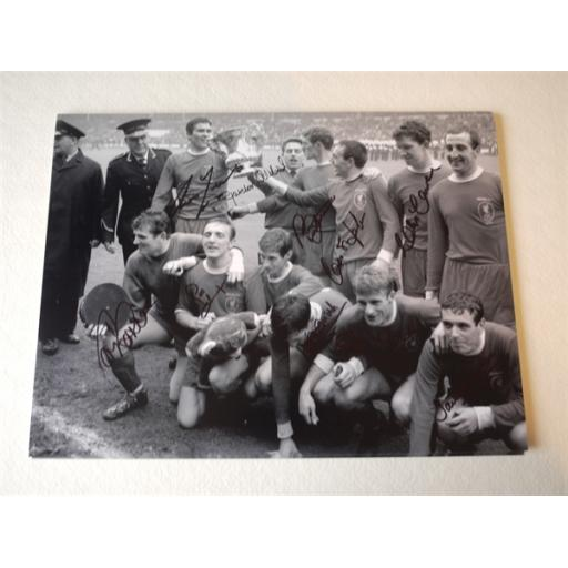 LIVERPOOL 1965 FA CUP WINNERS SIGNED RANGE - 1965 FA CUP FINAL 16X12 TEAM GROUP CELEBRATION PHOTO