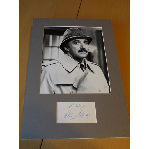 SIGNED & MOUNTED PETER SELLERS PINK PANTHER CARD & PHOTO DISPLAY