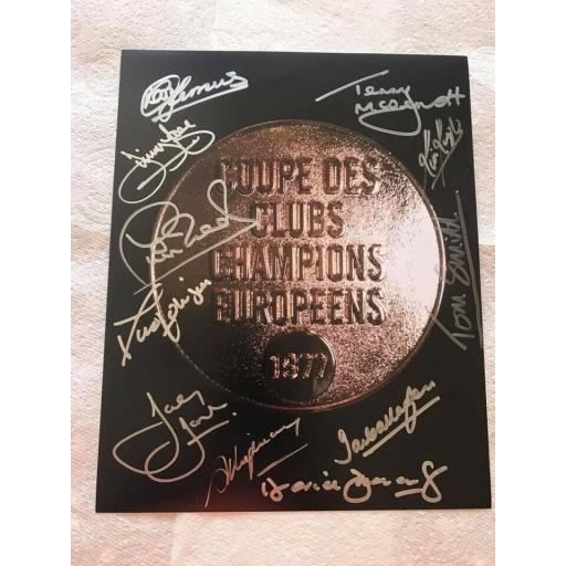 MULTI SIGNED LIVERPOOL FC 1977 EUROPEAN CUP WINNERS MEDAL 10x8 PHOTO