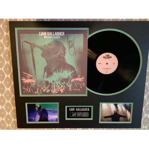 LIAM GALLAGHER SIGNED & MOUNTED MTV UNPLUGGED VINYL DISPLAY
