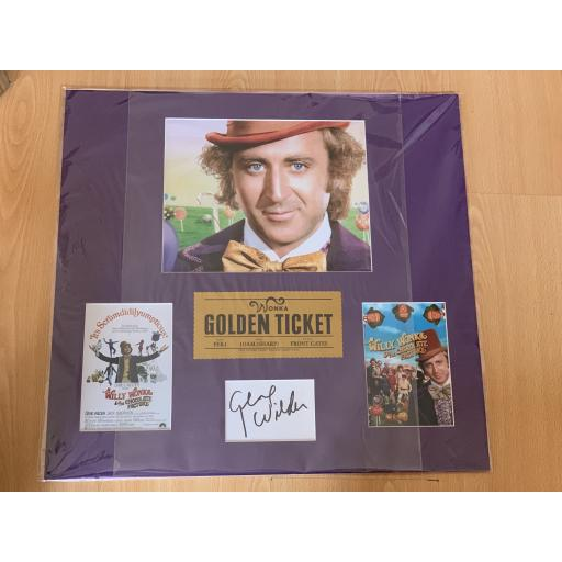 GENE WILDER SIGNED & MOUNTED WILLY WONKA CHARLIE & THE CHOCOLATE FACTORY DISPLAY
